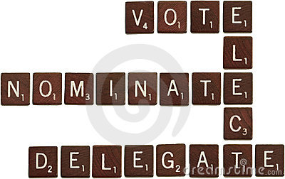 Vote, elect, nominate, delegate scrabble tiles