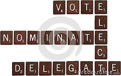 Vote, elect, nominate, delegate scrabble tiles