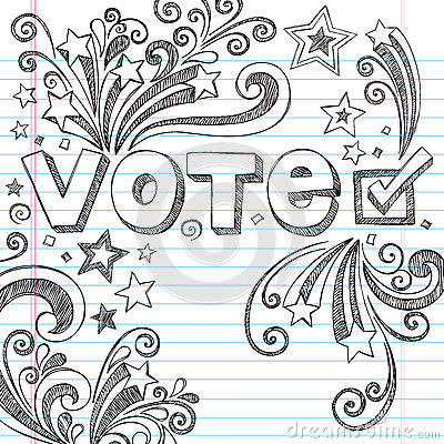 Vote Election Sketchy School Doodles Vector Illust