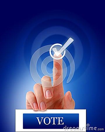 Vote finger check mark