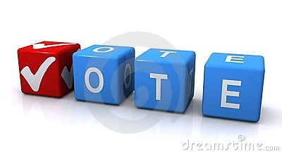 Vote sign with tick mark