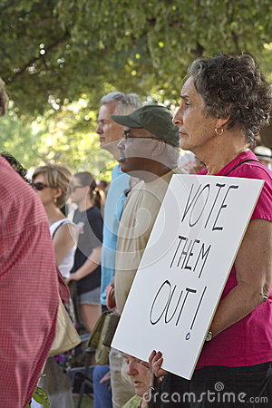 Vote Them Out Sign at Moral Monday Rally Editorial Image