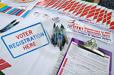 Voter registration forms Editorial Stock Photo