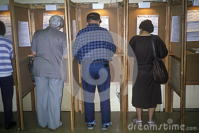 Voters and voting booths Editorial Photography