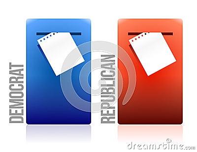 Voting ballot democrat and republican