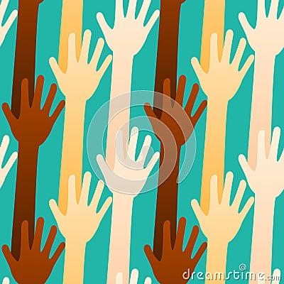 Voting or Volunteering Hands Seamless Background