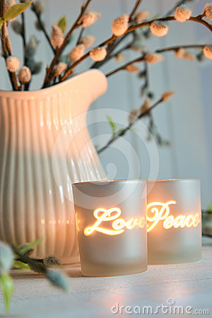 Free Votive Candles Creating A Relaxing Atmosphere Stock Photography - 24485402