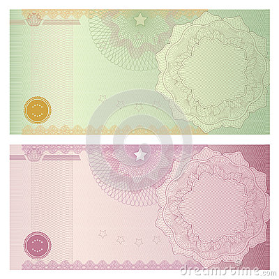 Voucher / coupon template with guilloche pattern