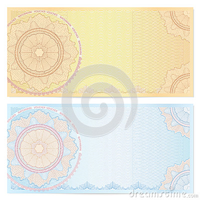 Voucher (coupon) template with guilloche pattern