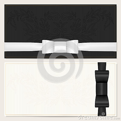 Free Voucher, Gift Certificate, Coupon. Black Bow Royalty Free Stock Image - 33713616