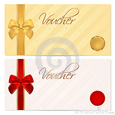 Free Voucher, Gift Certificate, Coupon Template. Bow Royalty Free Stock Images - 35510609