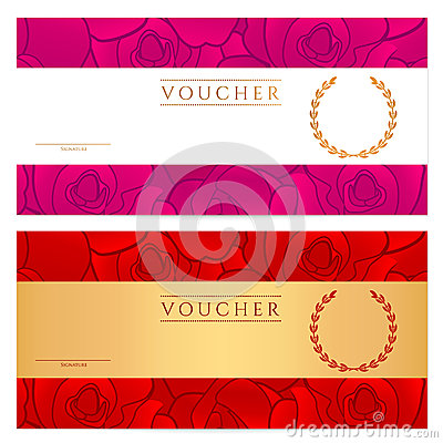 Free Voucher (Gift Certificate, Coupon) Template. Rose Royalty Free Stock Image - 31665206