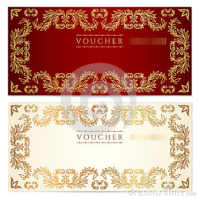 Free Voucher (gift Certificate) Template. Gold Pattern Royalty Free Stock Photography - 30758537