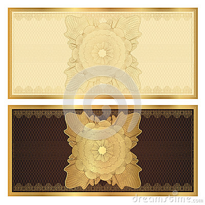 Voucher (gift certificate) template. Gold pattern