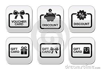 Voucher, gift, discount card  buttons set