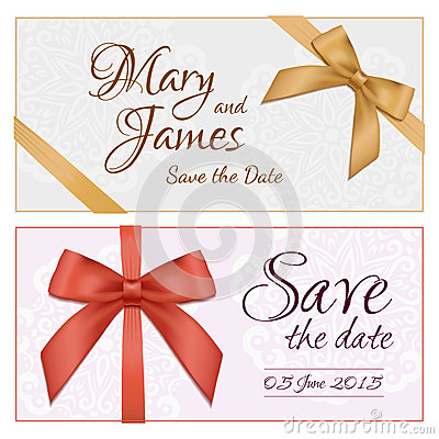Free Voucher Template With Floral Pattern, Border, Red And Gold Bow And Ribbons. Design Usable For Gift Coupon, Voucher, Invitation Royalty Free Stock Image - 55092606