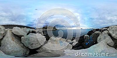 360 VR video ocean panorama on Capri island ITALY.  stock video footage