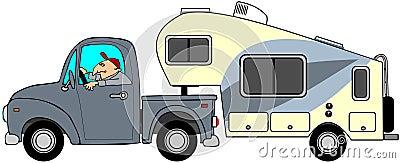 Vrachtwagen en 5de wielaanhangwagen