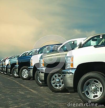 Vrachtwagens in een