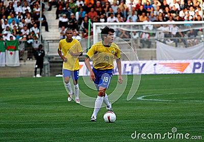 Vriendschappelijke voetbalgelijke Brazilië versus Algerije Redactionele Fotografie