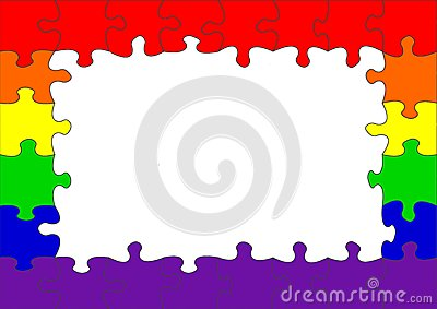 Vrolijke het raadselgrens van de regenboogvlag