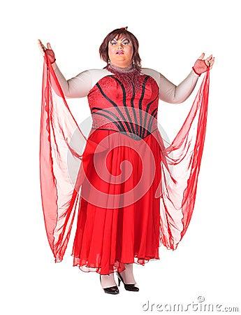 Vrolijke mens, de Koningin van de Belemmering, in een Vrouwelijk Kostuum