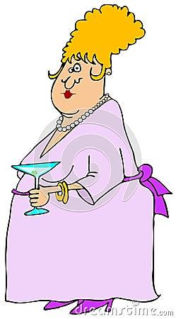 Vrouw bij een cocktail party