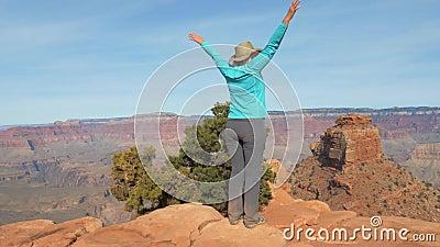 Vrouw de Wandeling in Grand Canyon komt omhoog aan het de Observatiepunt en Wapens stock videobeelden