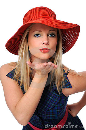 Vrouw die een Kus blaast