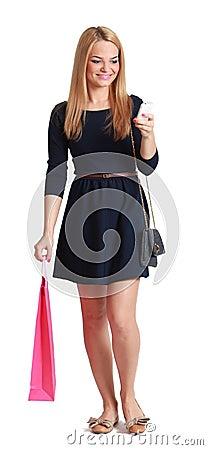 Vrouw die zijn Mobiel controleert