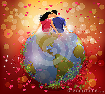 Vrouw en man het kussen op de bol