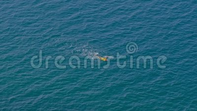 Vrouw in gele zwembroek zwemt in zee, niemand stock videobeelden