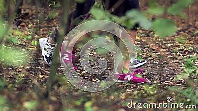 vrouw 2 in het bos in werking dat wordt gesteld dat stock video