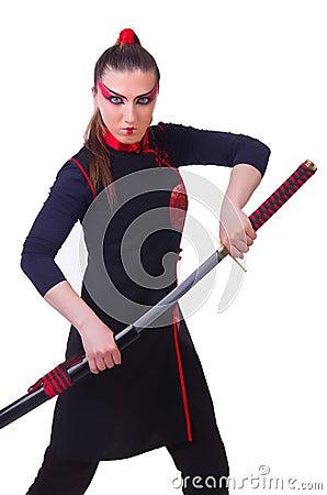 Vrouw in Japanse krijgs
