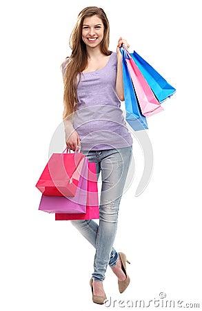 Vrouw met het winkelen zakken