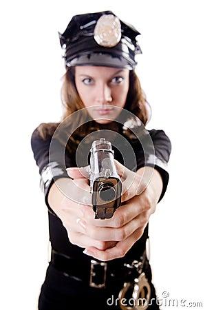 Vrouwelijke geïsoleerde politie
