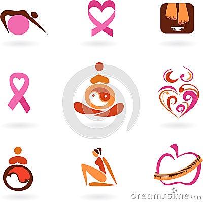 Vrouwelijke gezondheidspictogrammen en emblemen