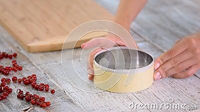 Vrouwelijke handen maken witte chocolade decor voor cake stock videobeelden