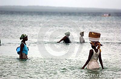 VROUWEN DIE IN MOZAMBIQUE VISSEN Redactionele Afbeelding