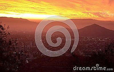 Coucher de soleil sur Santiago de Chile Stock Photo