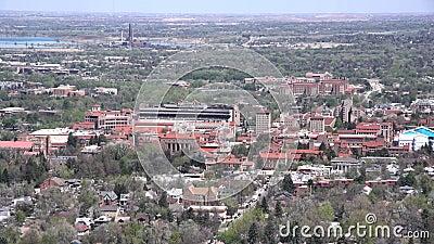 Vue aérienne d'université du Colorado Boulder banque de vidéos