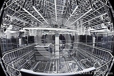 Vue de fisheye de l 39 int rieur du lave vaisselle image for Interieur lave vaisselle