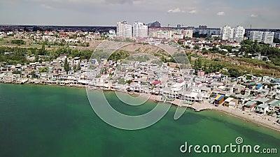 Vue de la vue de primev?re farineuse des cons?quences de l'?boulement dans la ville de Chernomorsk, Ukraine banque de vidéos