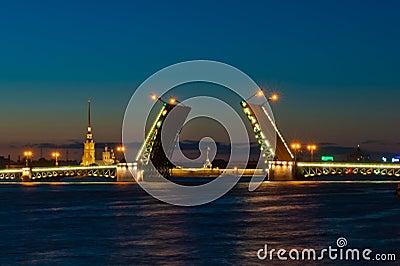 Vue de nuit de passerelle de palais, St Petersburg