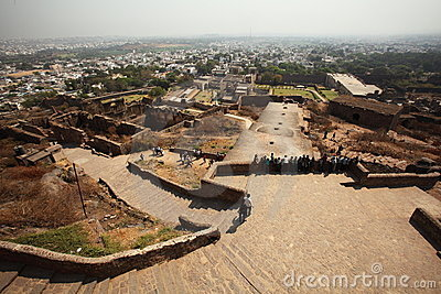 Vue à partir de dessus de fort de Golconda, Hyderabad Image stock éditorial