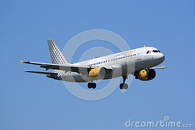 Vueling Airbus during landing Editorial Stock Photo