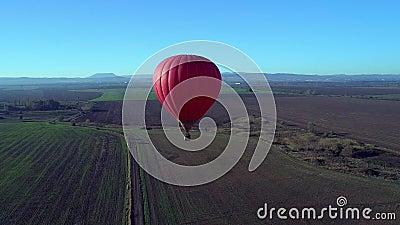 Vuelo aéreo amarillo azul rojo colorido del abejón de Baloons del aire caliente de los colores sobre Autumn Forrest hermoso en la almacen de video
