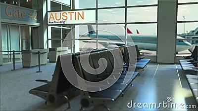 Vuelo de Austin ahora que sube en el terminal de aeropuerto Viajando a la animación conceptual de la introducción de Estados Unid almacen de metraje de vídeo