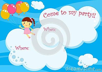 Vuelo de la muchacha de la tarjeta de la invitación del partido con los globos