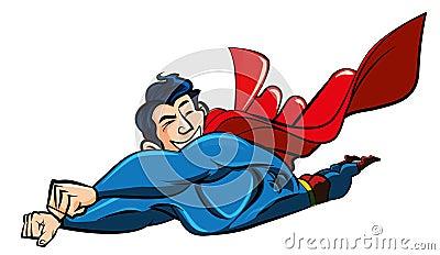 Vuelo del supermán de la historieta